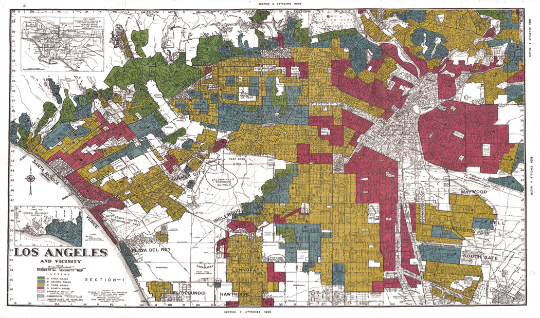"""""""HOLC Residential Security Map,"""" Los Angeles, 1939."""
