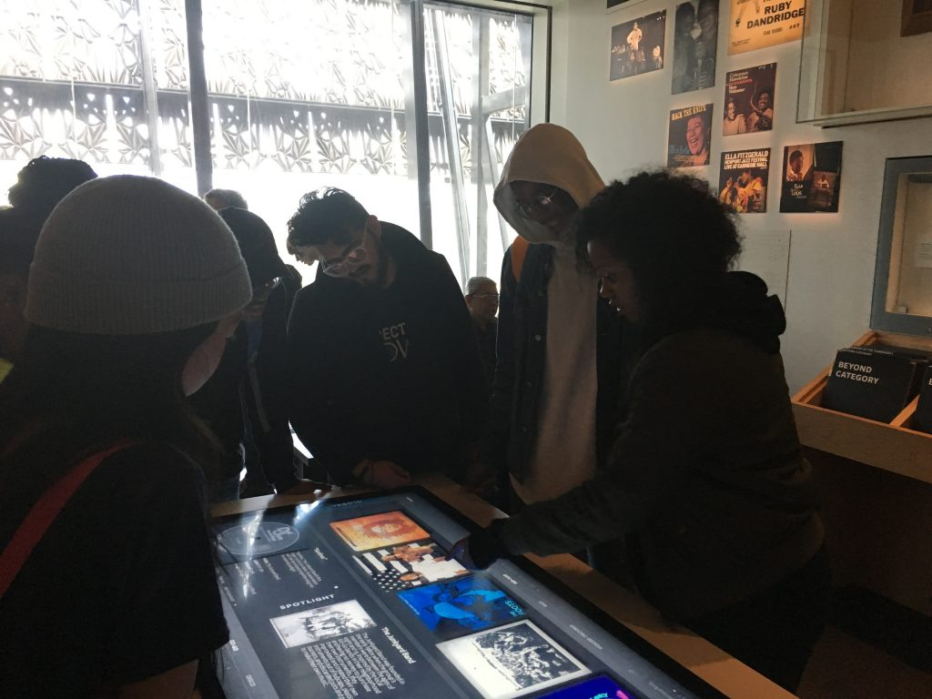Students Explore the Musical Crossroads Gallery at the NMAAHC. Photo: Author.
