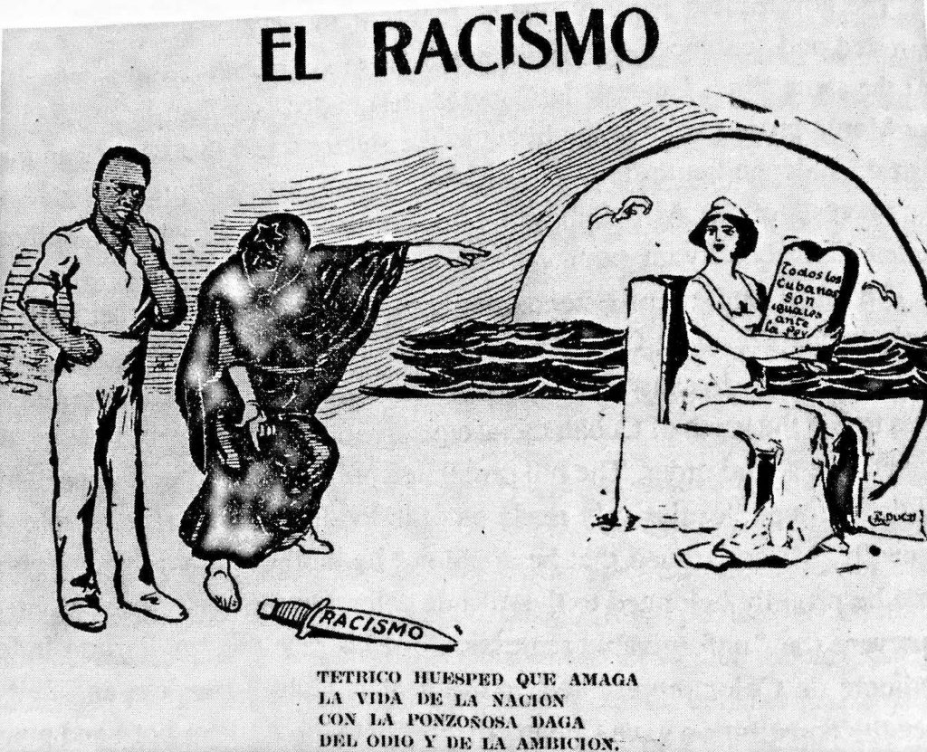 "A political cartoon showing a black man tempted to use racism as a weapon (a knife) to kill the Cuba nation, represented as a white woman. ""Racism,"" El Triunfo (February 18, 1910)."