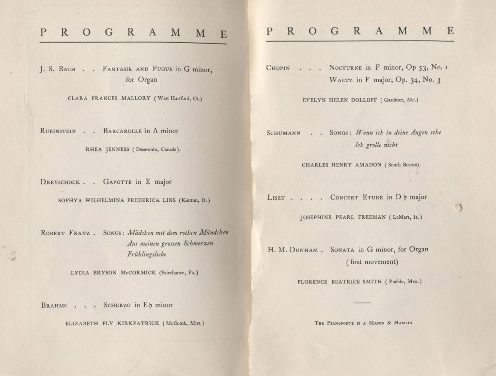 New England Conservatory program featuring Florence Price. Photo: New England Conservatory Archive.