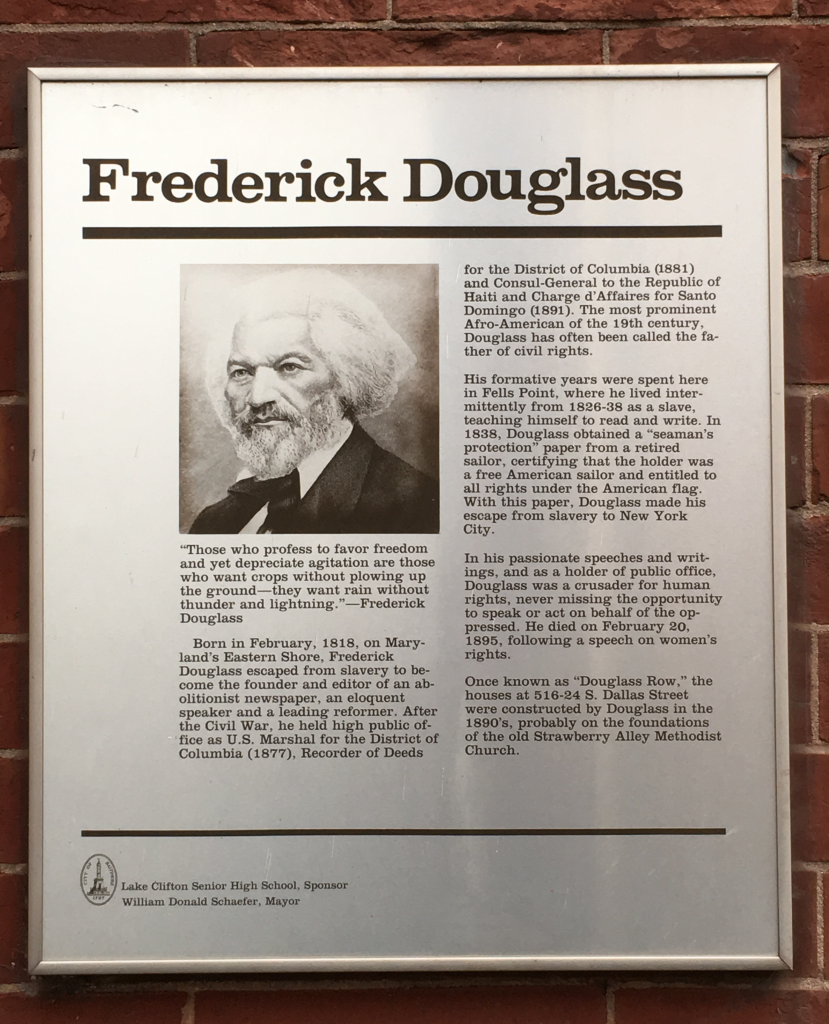 Plaque on Douglass Row. Photo: Author.