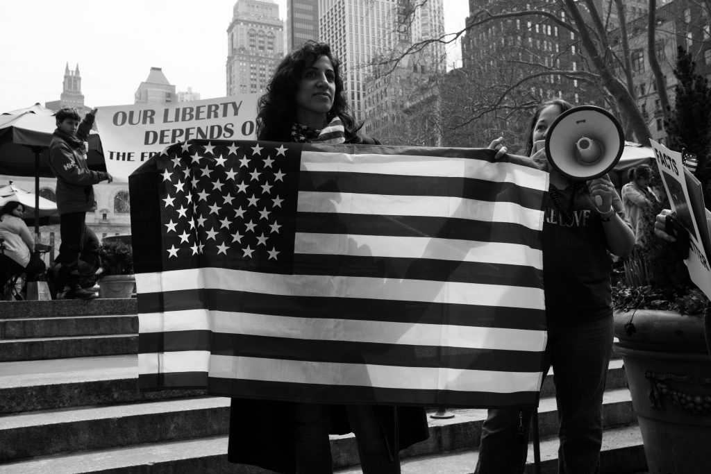 Free speech demonstration in New York City, March 2017. Photo: B.C. Lorio/Flickr.