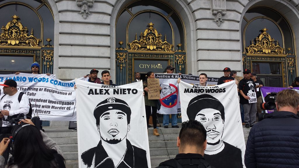 Black-Brown Unity to End Police Impunity rally at San Francisco's City Hall, March 2016. Photo: Ray Balberan.