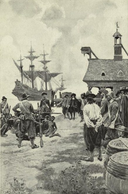 """Landing negroes at Jamestown from Dutch man-of-war, 1619."" 1901-01. The New York Public Library Digital Collections."