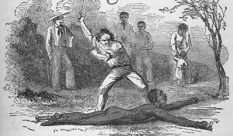 """""""Flogging a slave fastened to the ground."""" 1853. Schomburg Center for Research in Black Culture, Manuscripts, Archives and Rare Books Division, The New York Public Library Digital Collections."""